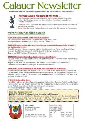 Foto zur Meldung: Neuer Calauer Newsletter für die Zeit vom 26.09. - 02.10.2019