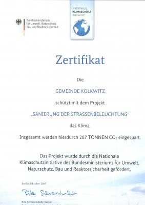 207 Tonnen Kohlendioxid werden durch die Umstellung der Straßenbeleuchtung in der Gemeinde Kolkwitzeingespart.