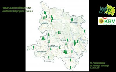 Karte mit geförderten Blühstreifen, durch die Förderrichtlinie des Landkreis OPR