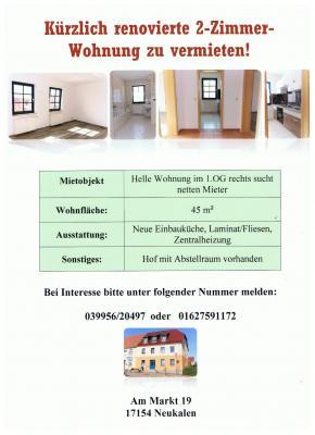 Foto zu Meldung: 2-Zimmer Wohnung zu vermieten.