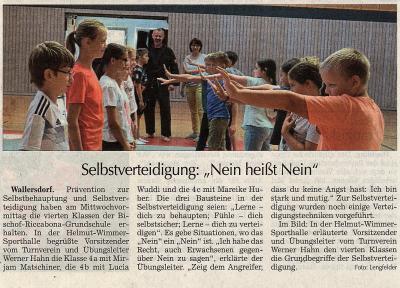 Vorschaubild zur Meldung: Selbstverteidigung für Schüler der 4.Klassen in der GS-Wallersdorf