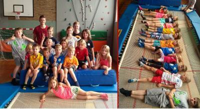 Vorschaubild zur Meldung: 14 lachende Gesichter beim Trampolinspringen im Ferienprogramm