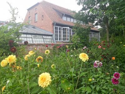 Die frisch eröffnete Dahlienselbstpflücke für alle Besucher in unmittelbarer Nähe der Orangerie.
