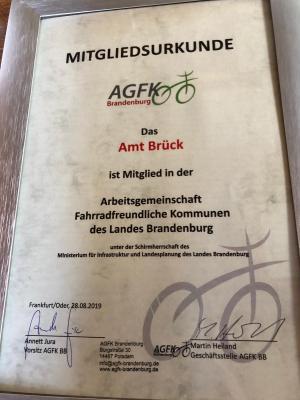 Vorschaubild zur Meldung: PM 33/2019 - Amt Brück Mitglied in der AGFK - Fahrradinfrastruktur wichtiges Anliegen