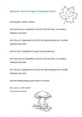 Vorschaubild zur Meldung: Veranstaltungen im Jugendclub Dreetz im September