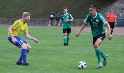 Mit starken Leistungen hatte Niklas Lein ( grünes Trikot ) maßgeblichen Anteil an der bisherigen Erfolgsserie des Demminer SV