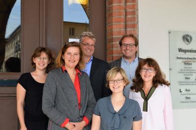 Bürgermeister Meger, die Fachbereichsleiter Frau Zießnitz, Frau Harnisch und Herr Dr. Lehmann begrüßten die BBeE Frau Raab und ihre Mitarbeiterin Frau Schwarz im Rathaus.