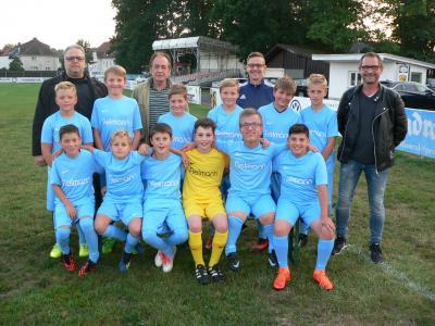 Hinten von links: Diemo Mucke (Fielmann), Gerhard Ernst (ATSV), Mario Gebhard (Trainer), Harald Siegert (FC)