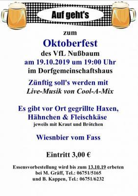 Vorschaubild zur Meldung: Oktoberfest in Nußbaum