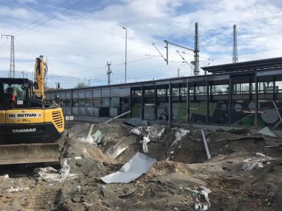 Foto zur Meldung: Bombenfund in der Stadt Ruhland / Kontrollierte Sprengung erfolgte am Donnerstag / Evakuierung im Sperrkreis von 1000 Metern rund um den Bahnhof