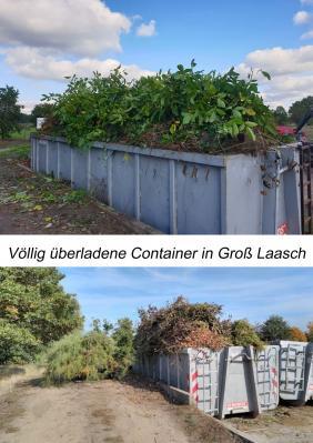 Immer wieder völlig überladene Container in Groß Laasch