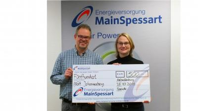 Vorschaubild zur Meldung: Main-Spessart-Energieversorgung spendet 500 Euro