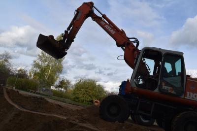 Foto zur Meldung: Neues von der Baustelle - Baufortschritt unserer Aula...
