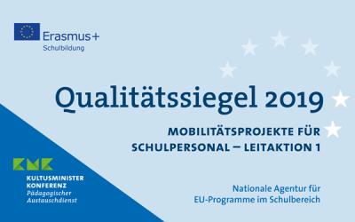 """Vorschaubild zur Meldung: Auszeichnung mit dem """"Erasmus+-Qualitätssiegel im Schulbereich"""""""