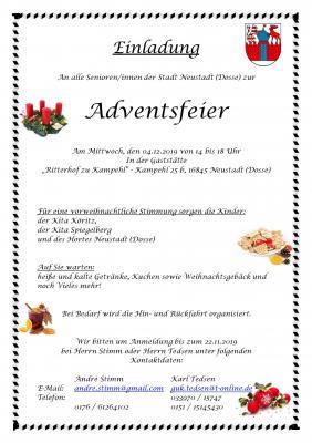Vorschaubild zur Meldung: Adventsfeier der Senioren der Stadt Neustadt (Dosse)