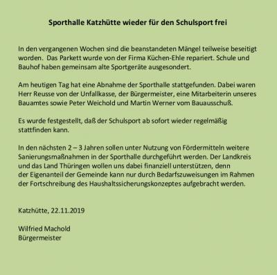 Information des Bürgermeisters