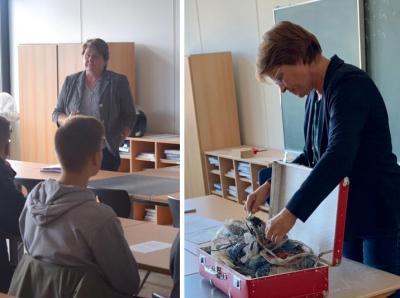 Von links: Johanne Modder (SPD) und Meta Janssen-Kucz (Bündnis 90/Die Grünen) tauschten sich lebhaft mit der Sekundarstufe II der IGS Moormerland aus