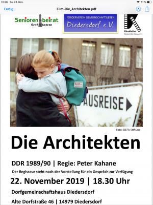 Foto zur Meldung: Mitteilung des Fördervereins Gemeinschaftsleben Diedersdorf e.V. - Kino im Dorfgemeinschaftshaus am 22.11.2019