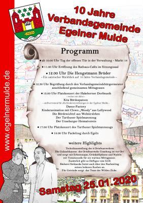 Programm zum 10-jährigen Jubiläum der Verbandsgemeinde Egelner Mulde