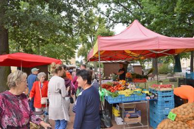 Der Frischemarkt mit Regionalprodukten auf dem Rathausplatz wurde auch mit Mitteln des Bürgerbudgets realisiert und erfreut sich großer Beliebtheit.