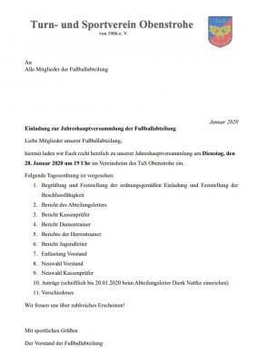 Vorschaubild zur Meldung: Einladung zur Jahreshauptversammlung der Fußballabteilung