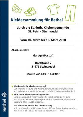 Plakat für Kleidersammlung Bethel
