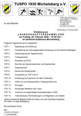 Einladung zur JHV 2020