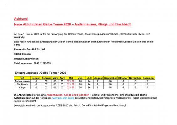 Vorschaubild zur Meldung: Falsche Abfahrtstermine im AZZE-Heft für Gelbe Tonnen in Klings, Andenhausen und Fischbach