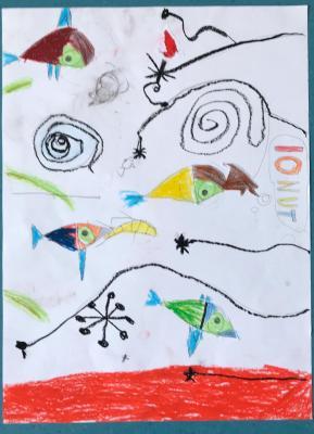 Vorschaubild zur Meldung: Zeichnen nach Miro,  Klasse 2a