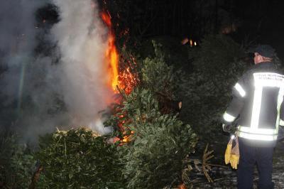 Foto zur Meldung: Das Ende von Weihnachten: Feuerwehr verbrennt Tannenbäume am 25. Januar