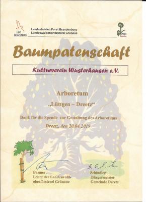 Vorschaubild zur Meldung: Kulturverein Wusterhausen erhält Urkunde vom Bürgermeister der Gemeinde Dreetz