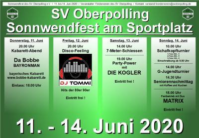 Bild der Meldung: Sonnwendfest am Sportplatz vom 11. bis 14. Juni 2020