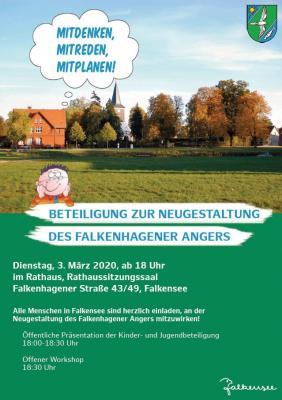 Unser Bild zeigt das Plakat zum offenen Workshop zur Neugestaltung des Falkenhagener Angers.