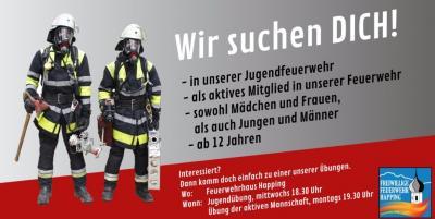 Foto zur Meldung: Jetzt Ausbildung zum Feuerwehrmann/-frau bei der Freiwilligen Feuerwehr Happing starten!