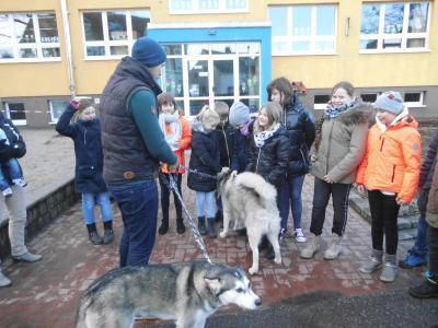 Vorschaubild zur Meldung: Husky trifft die 4. Klasse