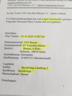 Die offizielle Spielabsage für das Punktspiel gegen Hülsen