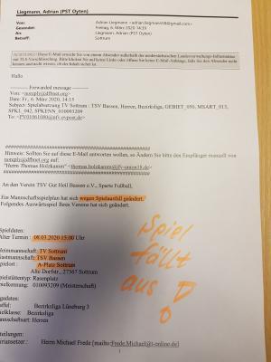 Da steht es schwarz auf weiß. Spielausfall der Bezirksliga-Begegnung zwischen dem TV Sottrum und dem TSV Bassen