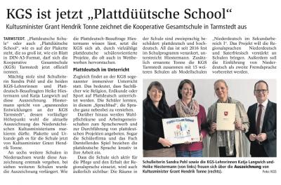 """Vorschaubild zur Meldung: KGS ist jetzt """"Plattdüütsche School"""""""