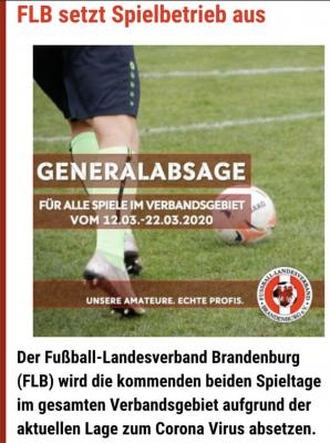 Foto zur Meldung: +++Generalabsage Spielbetrieb Fußball in Brandenburg+++