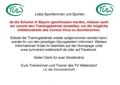 Vorschaubild zur Meldung: Kein Trainingsbetrieb beim TV-Wallersdorf. Turnhallen bis auf weiteres geschlossen