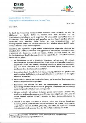 Vorschaubild zur Meldung: Neue Meldungung  KIBBS zum Thema Coroan