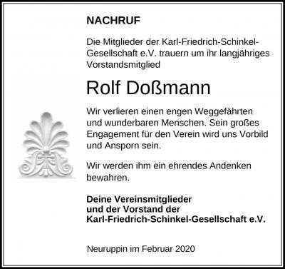 Rolf Doßmann gestorben