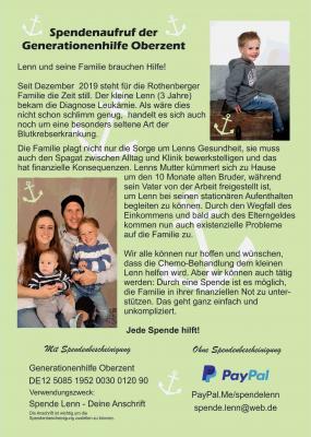 Vorschaubild zur Meldung: Spendenaufruf für Lenn und seine Familie