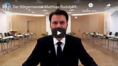 Vorschaubild zur Meldung: Bürgermeister Matthias Rudolph hat am 19.03.2020 auf Fragen der Fürstenwalderinnen und Füstenwalder im Videochat geantwortet