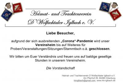Vorschaubild zur Meldung: !!! Vereinsheim geschlossen !!!