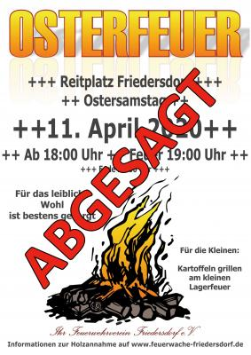 Foto zur Meldung: Absage vom Osterfeuer