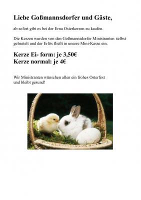 Vorschaubild zur Meldung: Osterkerzen von Ministranten bei Erna