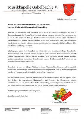 Absage des Festwochenendes vom 7. bis 10. Mai 2020