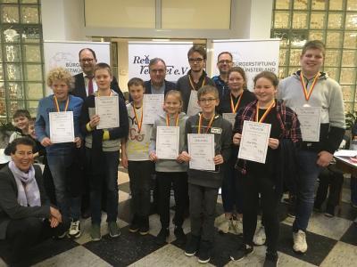 Siegerehrung der zweiten Kreismeisterschaften im Kopfrechnen. Foto: W. Kramer