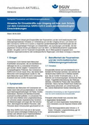 Foto zur Meldung: Ergänzung der DGUV-Hinweise für Einsatzkräfte zum Umgang mit bzw. zum Schutz vor dem Coronavirus SARS-CoV-2